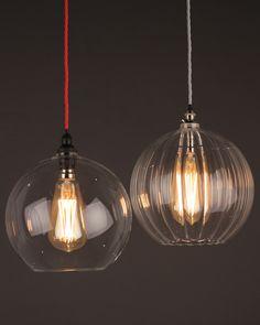 Hereford ribbed glass globe pendant light