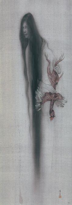 """Painting """"Nyctalopia"""" by Fuyuko Matsui collection of Mr. Akimitsu Naruyama) Photo: Yokohama Museum of Art Japanese Art Modern, Japanese Artists, Illustrations, Illustration Art, Macabre Art, Korean Art, Japanese Painting, Japan Art, Art Festival"""