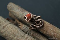 Copper Ring Wire Ring with coral Wire wrap by LenaSinelnikArt