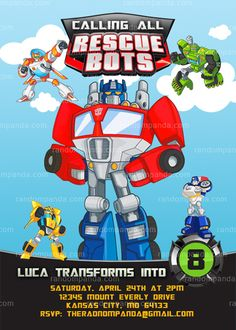 Rescue Bots Invitation, Transformers Party, Rescue Bots Birthday Invite