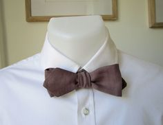 Bowtie - Taupe Linen - Diamond Point - Self Tie - Handmade by Strictly Bow Ties - Shipping Worldwide. by StrictlyBowTies on Etsy