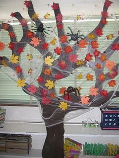 My classroom tree, decorated for Fall/Halloween
