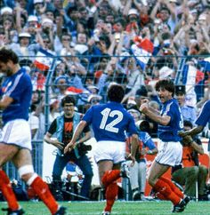 France 3 Portugal 2 in 1984 in Marseille. Jean-Francois Domergue gives France a 24th minute lead in the Semi Final at Euro '84.