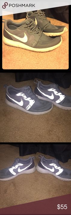 Selling because I bought new shoes! Beautiful Nike Roshe. Shoes are moderately worn with reflective accents that make them perfect for running. Very comfortable and stylish! Nike Shoes Athletic Shoes
