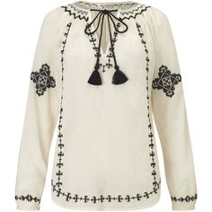 Miss Selfridge Mono Gypsy Blouse, Cream/White ($39) ❤ liked on Polyvore featuring tops, blouses, neck tie blouse, long sleeve blouse, bohemian blouse, cream blouse and white tie blouse