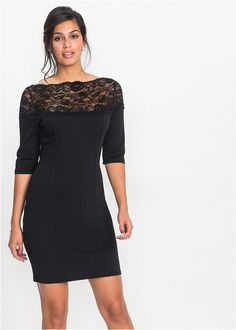 Czarna sukienka z dżerseju z koronką  #sukienka #sukienkanawesele #czarnasukienka #sukienkanasylwestra #fashion #moda #dress #blackdress #nyedress #wesele #wesele2018 #sukienki2018 Flirt, Dresses For Work, Formal Dresses, Elegant, Chic Outfits, Clothes, Black, Fashion, Jersey Knit Dress
