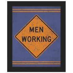 """Click Wall Art 'Men Working' Framed Textual Art on Canvas Frame Color: Black, Size: 22.5"""" H x 18.5"""" W x 1"""" D"""