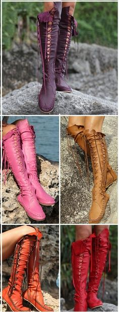 Gypsy #Lace-Up #KneeHighBoots #Boots #fashion