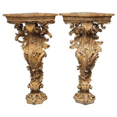 Exceptional Pair of Italian 19th Century Consoles | From a unique collection of antique and modern console tables at http://www.1stdibs.com/furniture/tables/console-tables/