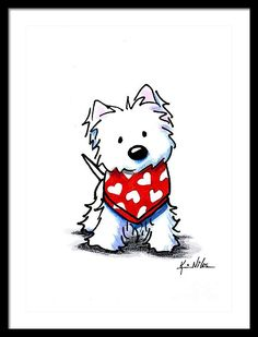 KiniArt Westie Terrier dog breed art by Contemporary PUP Artist, Kim Niles. © Kim Niles, KiniArt™ - All Rights Reserved. Cartoon Drawings, Animal Drawings, Cute Drawings, Dog Drawings, Valentine Drawing, Valentine Cartoon, Valentines, West Highland Terrier, White Terrier