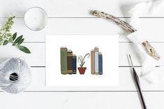Bookcase Print Literature Illustration Nursery Wall Art