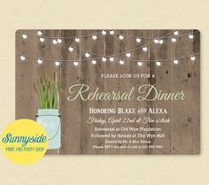 Our rustic rehearsal dinner invitation featuring cattails can also be customized for an engagement party, wedding shower, etc.  ☀ This