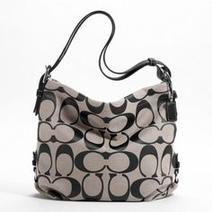 Coach Signature Duffle Shoulder Handbag in Black and White