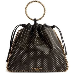 Women's Balmain Studded Leather Bracelet Backpack ($1,895) ❤ liked on Polyvore featuring bags, backpacks, noir, chain strap backpack, drawstring backpack bag, leather strap backpack, strap backpack and leather tote shopper
