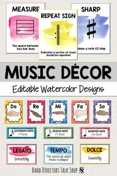 Music teachers, looking for music bulletin boards ideas & music classroom decor? This music decorations set is for you! The watercolor music posters will add color to your music classroom, band room, orchestra room, hallways or door and reinforce music co Music Word Walls, Music Words, Music Classroom, Music Teachers, Classroom Decor, Choir Room, Music Bulletin Boards, Band Rooms, Middle School Music