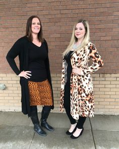 LuLaRoe Jessica and Erin - Lightweight and cozy without being hot, the Sarah cardigan is best layering piece. A long cardigan, hitting around mid calf, and features a cropped long sleeve for easy movement and a flattering silhouette. Click our picture to join us in our shopping group! #LuLaRoeSarah #LuLaRoeSarahCardigan #Cardigan #cheetah