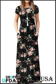 Women's Short Sleeve Loose Plain Maxi Dresses Casual Long Dresses with Pockets. Maxi Bridesmaid Dresses, Maxi Dresses, Fashion Dresses, Long Dresses, Casual Dresses, Short Sleeve Dresses, Gown Pattern, Pattern Fabric, Mode Abaya