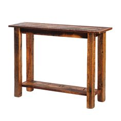 Barnwood sofa table by Fireside Lodge Furniture. Dull catalyzed lacquer finish is extra durable and retains the wood's natural character. Built with reclaimed Red Oak planks from 1800's tobacco barns.