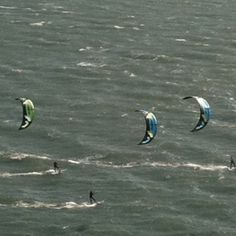 Close up of parasurfers off Alcatraz Island - catching waves in #sanfrancisco