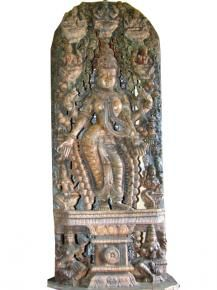 Lakshmi Statue Holding Lotus Wood Carving Sculpture Goddess  $34,499.00