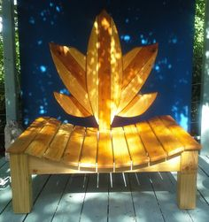 Wood Lotus Meditation Chair Handmade Beautiful by Solitudestudio, $850.00