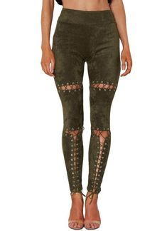 846570c158483f A| Chicloth Sexy Faux Suede Lace Up Bandage High Waist Women's Leggings