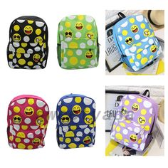Cartoon Smile Face Expression Students School Shoulder Bag Backpack Rucksack Hot