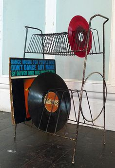 Old Records and wire album holders. Remembering the 70's.