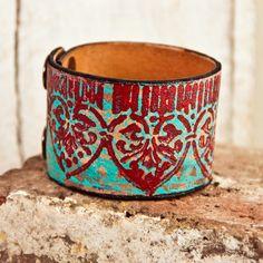 Turquoise Jewelry Leather Cuffs Bracelets Wristbands by rainwheel, $38.00