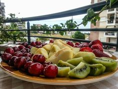 Summer fruits on the balcony.