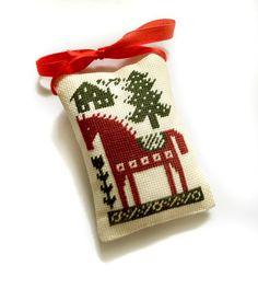 Christmas ornament Christmas tree decor dala by ReginaStitchery Xmas Cross Stitch, Cross Stitch Christmas Ornaments, Cross Stitch Pillow, Cross Stitch Samplers, Christmas Cross, Cross Stitching, Christmas Tree Ornaments, Cross Stitch Embroidery, Cross Stitch Patterns