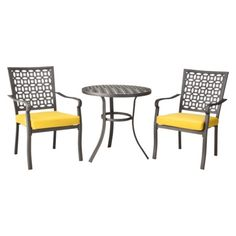 Target Home Hawthorn 3-Piece Metal Patio Bistro Furniture Set at Target. Maybe with different color cushions?
