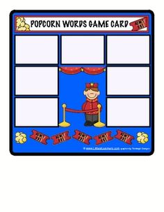 """POPCORN GAME for SIGHT WORD PRACTICE. This is a hands-on game for sight word practice. It is titled the """"Popcorn Game"""" and features Thistlegirl Clipart. Each player gets a movie-themed mat with the object being to fill it. All of the sight word cards are placed upside down. The players take turns drawing cards, reading the word and placing it on their mat. If the player draws a popcorn card he must clear his board and return all of his cards to the pile."""