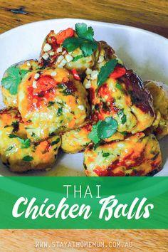 (adjust to keto) Thai Chicken Balls Minced Chicken Recipes, Healthy Chicken Recipes, Asian Recipes, Recipes With Chicken Mince, Mince Recipes, Cooking Recipes, Chicken Rissoles, Chicken Balls, Veggie Dinner