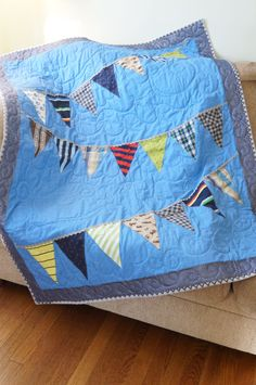 Baby Clothes Quilt Diagonal Bunting ~ Memory Blanket, Made to Order, Custom, Heirloom, Boys