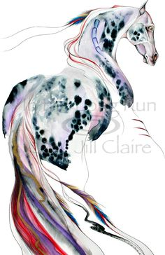 Native Appaloosa Feather Horse Art Painting Print  Claire Original. .