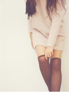 knee socks & sweater dress