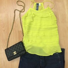 Neon ruffle tank Perfect condition ! Great staple for a summer wardrobe. Spaghetti strap style loose tank Francesca's Collections Tops Tank Tops