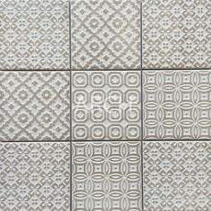 Our beautiful Moroccan-inspired tiles. Available in Matt finish. Photo shows 9 individual tiles, each 100x100.