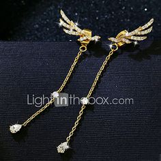 Drop Earrings AAA Cubic Zirconia Zircon Cubic Zirconia Gold Plated Alloy Wings / Feather Jewelry For Wedding Party Daily Casual 1 pair 2017 - €9.83