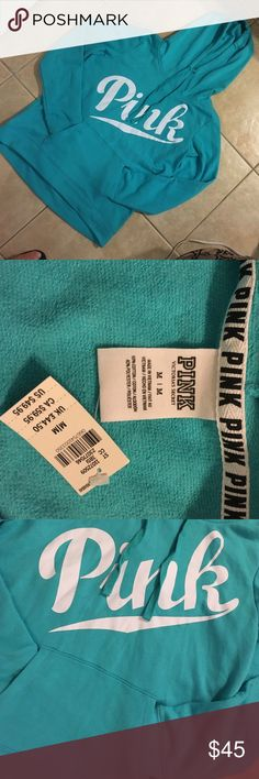 Pink Victoria's Secret pullover hoodie NWT!!! Seafoam green with bold white letters can only say PINK! Super soft loose fitting & comfy! Don't miss out on this color... PINK Victoria's Secret Tops Sweatshirts & Hoodies