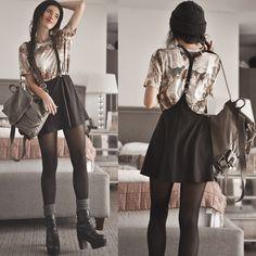 Suspender Skirt, Historic Art Print T Shirt, Black Capsule Boots