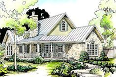 Country Style House Plan - 2 Beds 2 Baths 1065 Sq/Ft Plan #140-131 Exterior - Front Elevation - Houseplans.com