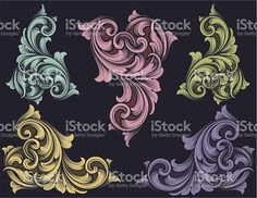 Colorful Scrollwork Set royalty-free stock vector art
