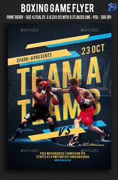 Buy Boxing Game Flyer by sparkg on GraphicRiver. Boxing Game Flyer It's unique flyers, poster design for your business Advertisement purpose. All Elements are in indi. Sports Graphic Design, Graphic Design Posters, Banner Design, Flyer Design, Rugby, Waterpolo, Boxing Posters, Sports Flyer, Sports Graphics