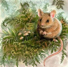 """Field Mouse 2013"" is a 5 x 5"" colored pencil, India ink and some white acrylic on heavy illustration board. So cute!"