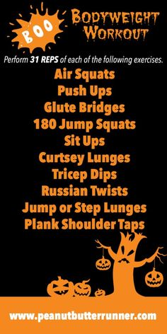 Halloween-Themed Workouts: Spooky Sprint & Climb Treadmill Workout + Boo Bodyweight Workout   Peanut Butter Runner   Bloglovin'