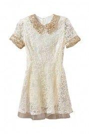 Paillette Collar Lace Beige Dress   $55.99  romwe.com