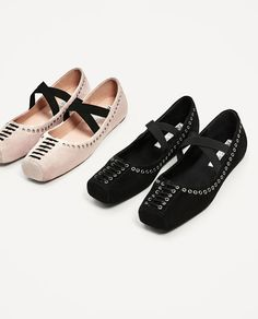 Image 4 of ELASTIC LEATHER BALLERINAS from Zara