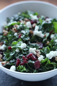 Greek kale salad with goat cheese, cranberries and pecans